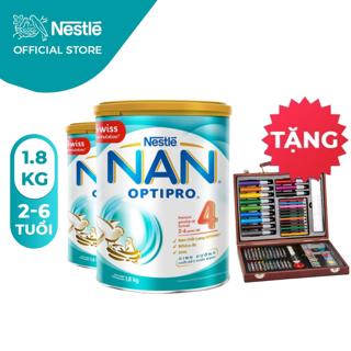 """[Tặng 1 Bộ chì màu hộp gỗ] Combo 2 Lon Sữa Bột Nestle NAN Optipro 4 1,8kg/lon giá chỉ còn <strong class=""""price"""">136.600.000.000đ</strong>"""