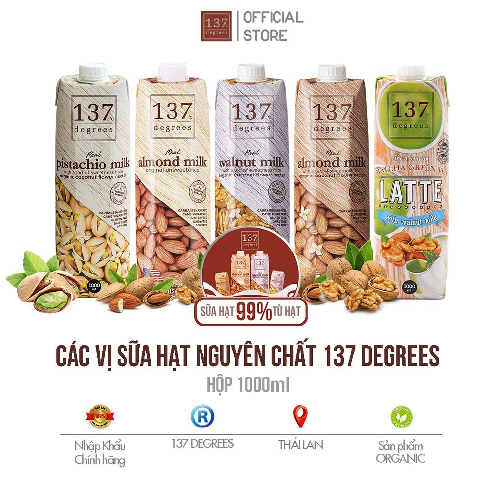 Các Vị Sữa Hạt Nguyên Chất 137 Degrees Thái Lan - Hộp 1000 ml
