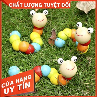 [TRỢ GIÁ] Đồ chơi con sâu gỗ uốn dẻo nhiều màu sắc đáng yêu cho bé