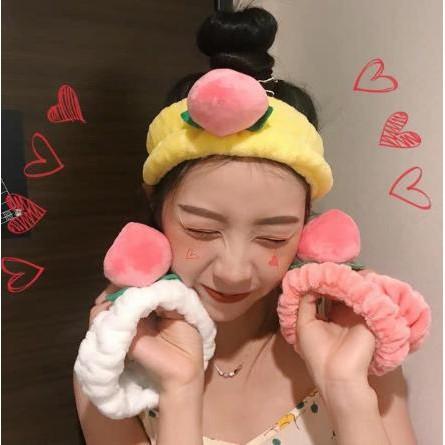 Băng Đô Turban Quả Đào 3D Vải Bông Nhung Siêu Xinh