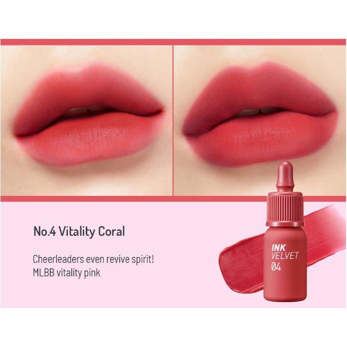Son Kem Lì Và Mịn Peripera Ink The Velvet 4g #No.4 Vitality Coral | Shopee  Việt Nam