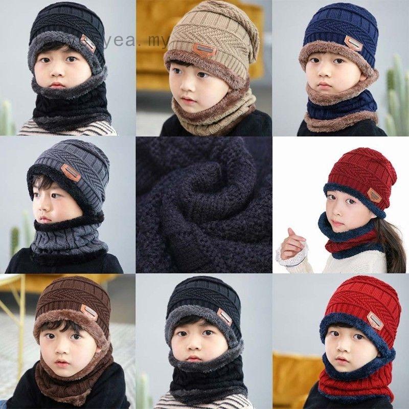 Mũ len xinh xắn kèm khăn choàng cổ giữ ấm dành cho bé trai và bé gái từ 3-12 tuổi
