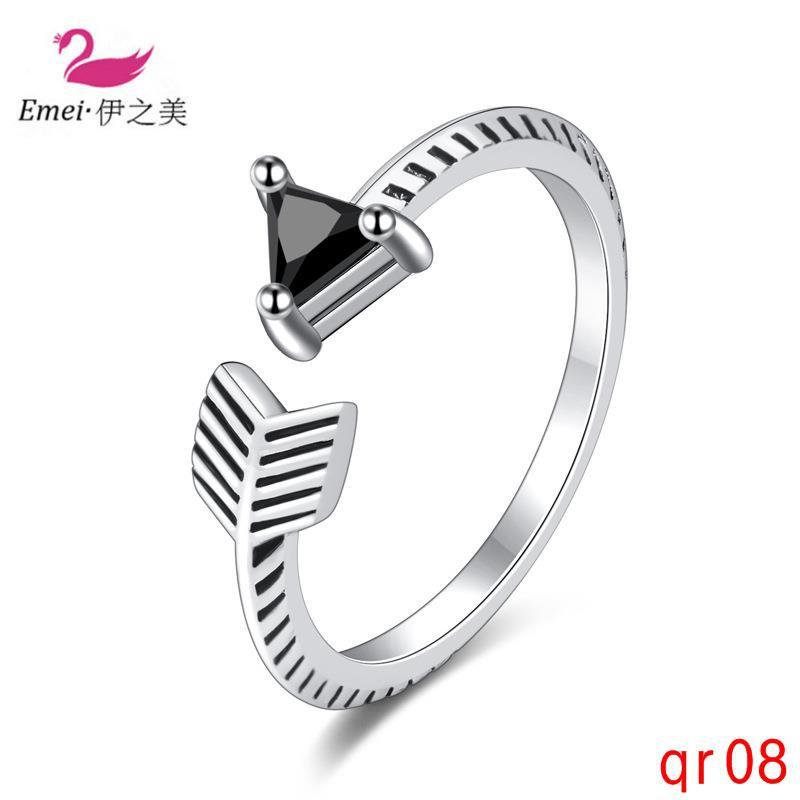 ง่ายสร้างสรรค์เรขาคณิตไทยแหวนเงินแหวนนิ้ววินเทจ