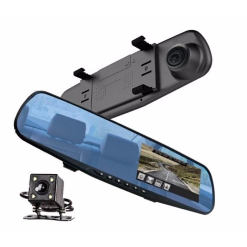 Camera Hành Trình Xe Hơi Tích Hợp Gương Và Camera Lùi Dvr 4.3