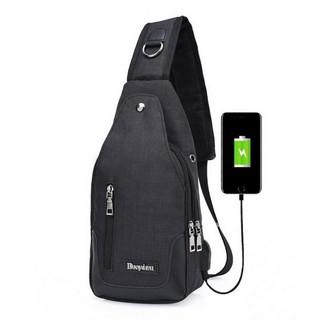Túi đeo chéo nam cao cấp tích hợp cổng sạc USB ngoài 208211 (Đen)