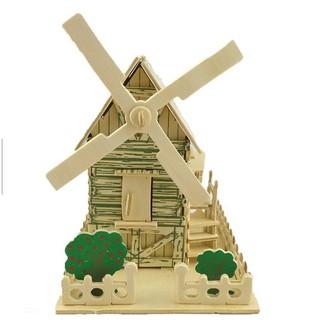 Mô hình nhà gỗ cối xoay gió cho trẻ em