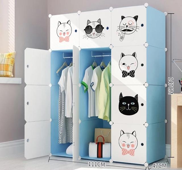 Tủ nhựa ghép- tủ quần áo- tủ 12 ô Size sâu 47cm . Tặng kèm 2 treo đồ.inbox chọn mẫu