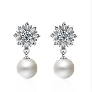 Bông Tai Ngọc Trai Nữ Đính Đá Lấp Lánh Hình Bông Hoa Tuyết XBB20 - Bảo Ngọc Jewelry