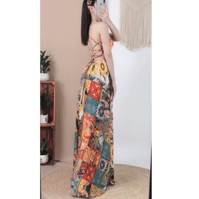 Đầm maxi đan lưng ❤️FREESHIP❤️ Đầm maxi thổ cẩm hở lưng