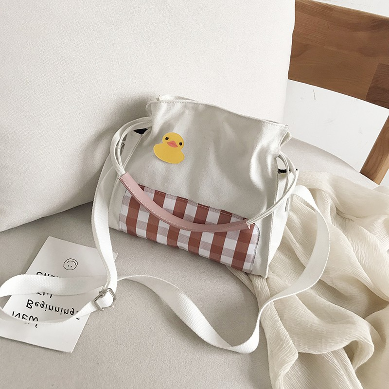 (Siêu Rẻ) Túi Đeo Chéo Nữ Kẻ Sọc Style Hàn Quốc - Túi Vải Tote Thời Trang Xu Hướng Mới