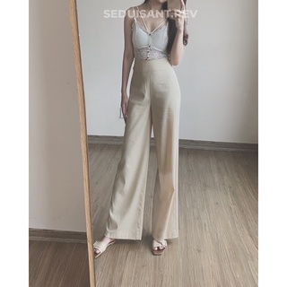 Noemie Linen Trousers - Quần Linen ống rộng be sáng SEDUISANT thumbnail