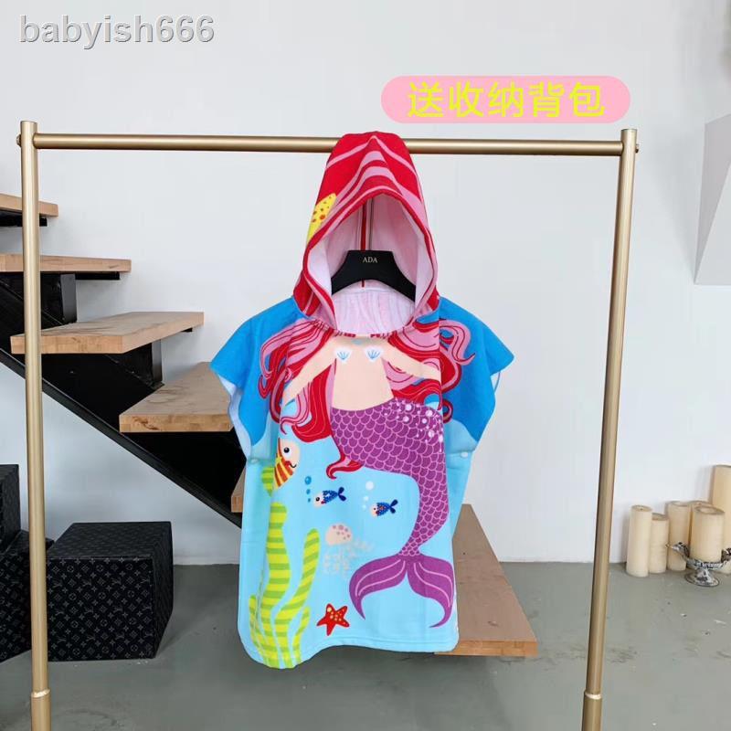 ✈Áo choàng tắm có mũ trùm thấm hút tốt in hoạt hình dễ thương cho bé