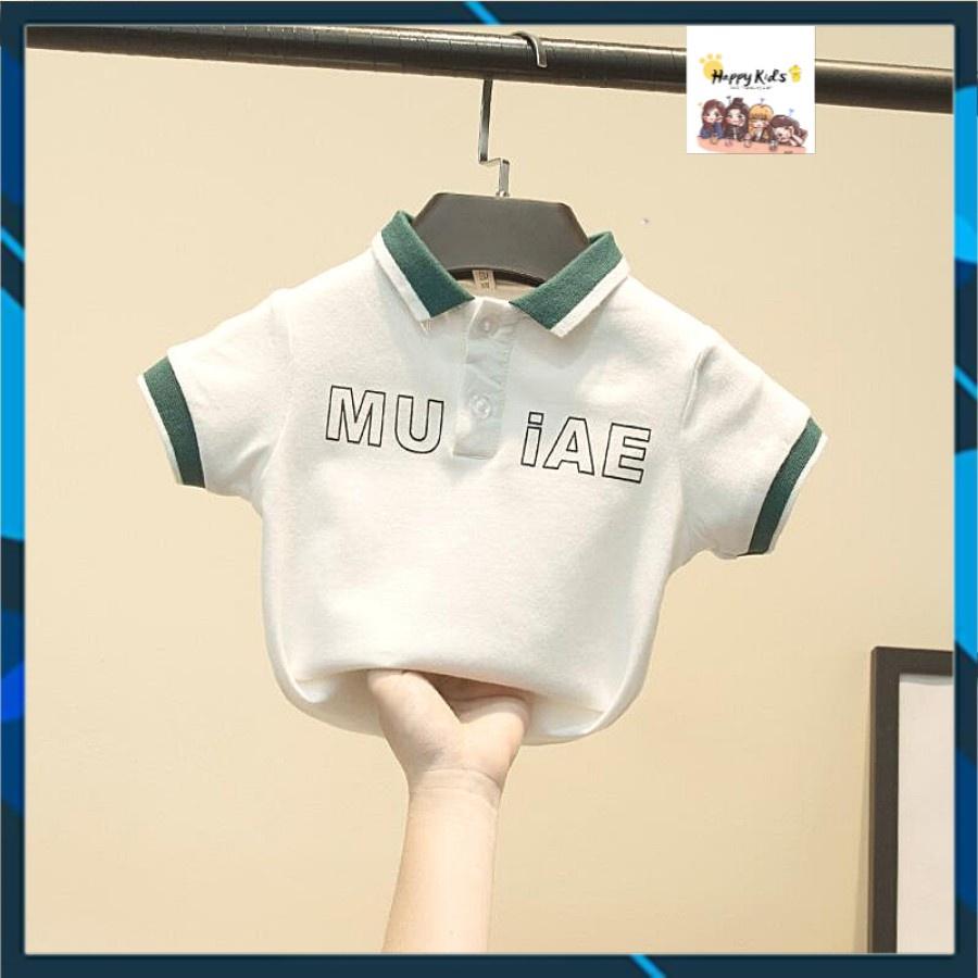 Áo thun bé trai Hàn Quốc ,áo phông bé trai, 100% cotton, Bộ MU có cổ, 2 màu cho bé trai thoải mái vận động