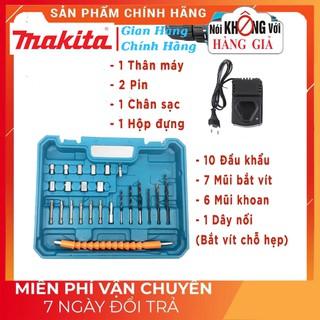 Máy Khoan Pin Makita 12V tăng kèm phụ kiện 25 mũi và ốc [CAM KẾT CHÍNH HÃNG]