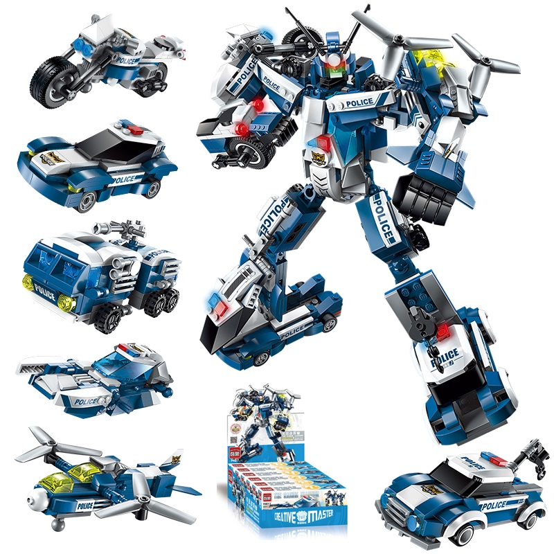 đồ chơi thông minh xếp hình mô hình siêu nhân robot khủng long trí tuệ 6 trong 1 cho bé