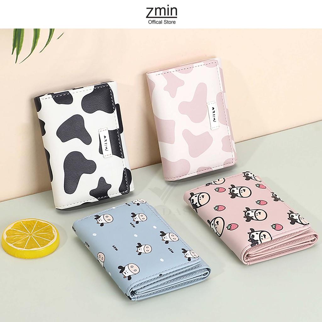 [Mã SKAMA8 giảm 8% đơn 300K] Ví bóp nữ mini cầm tay hình bò sữa Zmin, chất liệu da cao cấp - V021