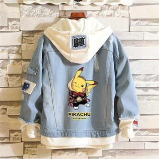 áo khoác denim hình pikachu