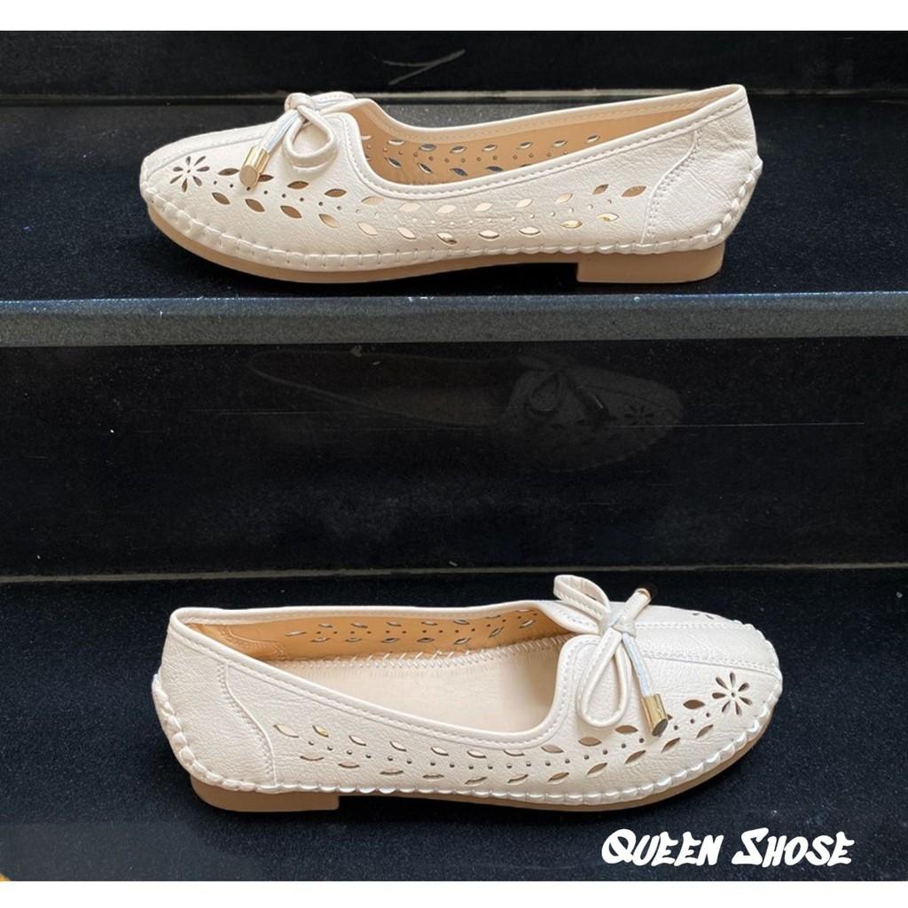 [BẢO HÀNH 12 THÁNG] Giày lười nữ, giày bệt nữ đế bằng mũi tròn cắt lỗ Laze Thoáng Mát Phối Nơ Xinh - Chất Da Êm Mềm