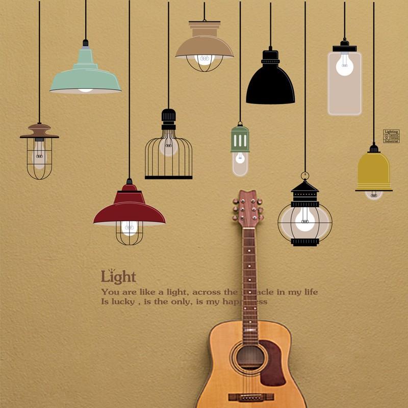 Decal dán tường dây đèn thả chữ Light