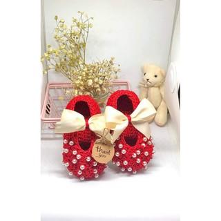 [HANDMADE ] Giày len handmade đính ngọc cho bé 😋