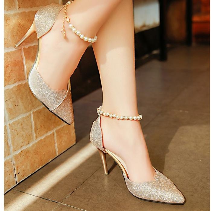 Giày cao gót nhọn 8 phân kim tuyến chuỗi __LZ017