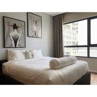 Ga trải giường phẳng khách sạn 100% Cotton (T300) màu trắng sọc (1m6*2m)