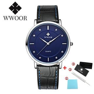 WWOOR watch for men leather watch simple men's watches analog quartz wristwatch 8011