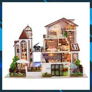 Mô hình nhà búp bê gỗ DIY Nhà búp bê Mô hình nhà lắp ghép Love you all the way HongDa L901 Toy World thumbnail