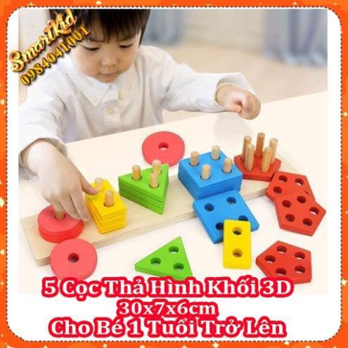 Giáo Cụ Montessori Bộ 5 Cọc Thả Hình Khối 3D