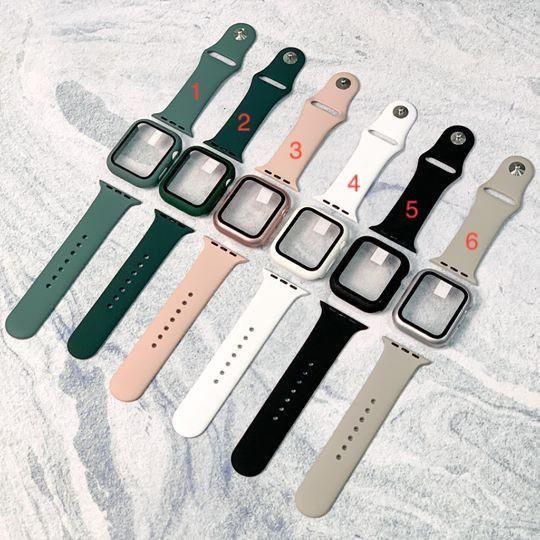 Combo ốp kính cường lực 9H và dây silicon chính hãng Apple Watch, đồng Hồ Thông Minh iWatch 1/ 2/ 3/ 4/ 5 38mm 40mm 42mm