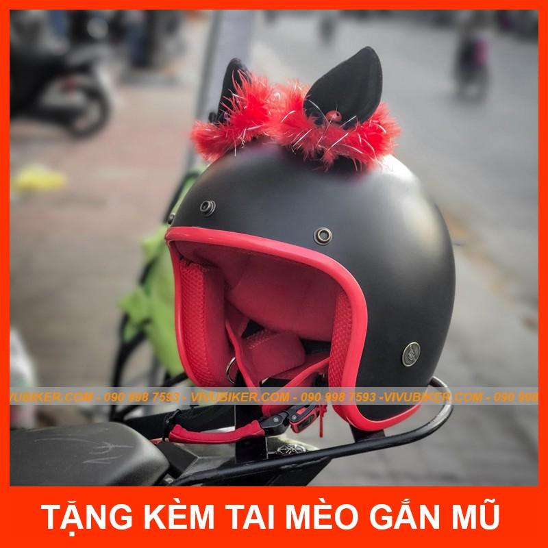 Tai mèo gắn nón bảo hiểm 3/4 siêu dễ thương, Mũ bảo hiểm gắn tai thỏ FungFing Thai Lan bảo hành chính hãng 12th