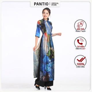 Áo dài chất liệu lụa bóng họa tiết nổi bật dáng ôm BDA10037- PANTIO thumbnail