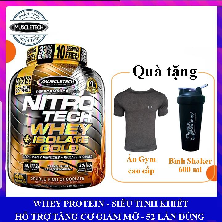 [TẶNG BÌNH VÀ ÁO GYM] Sữa tăng cơ NitroTech Whey Plus Isolate Gold của MuscleTech hộp 1.8kg 52 lần dùng - Chính hãng