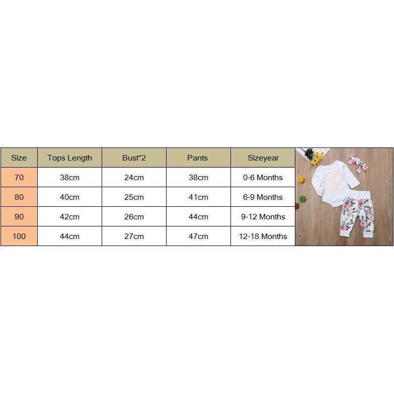 ★HZLBest 3Pcs Newborn Baby Girls Cotton Romper Floral Pants Headband Outfits Set Clothes