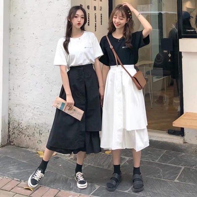 Chân váy tầng Ullzang siêu hot - chân váy dài qua gối-váy cho giới trẻ