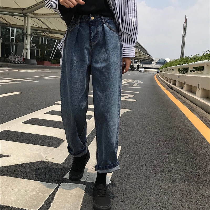 (Good selling point) 2018 Korean new fall loose version nine points straight wide thin pants