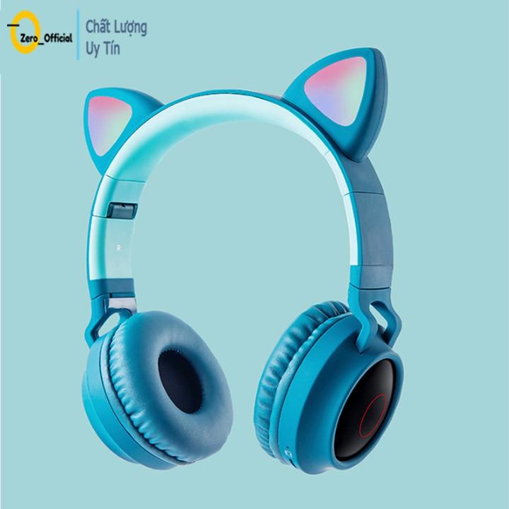 Tai nghe chụp tai bluetooth, tai nghe mèo có mic thu, âm bass siêu ấm - bảo hành 1 năm.