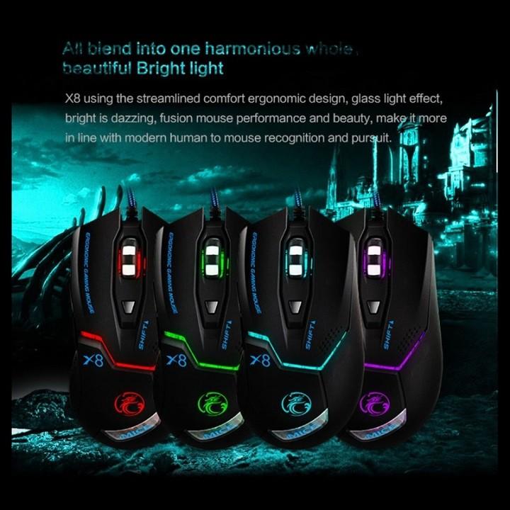 Chuột Gaming Imice X8 – Chính hãng – Led đổi màu – Độ nhạy 3200 DPI – Bảo hành 12 tháng