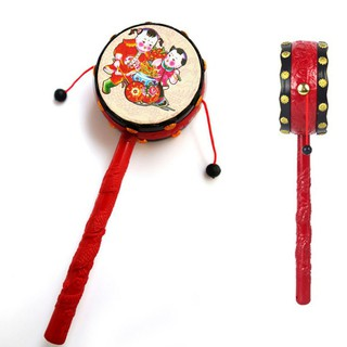 Red Black Plastic Chinese Traditional Rattle Drum Spin Toy for Baby