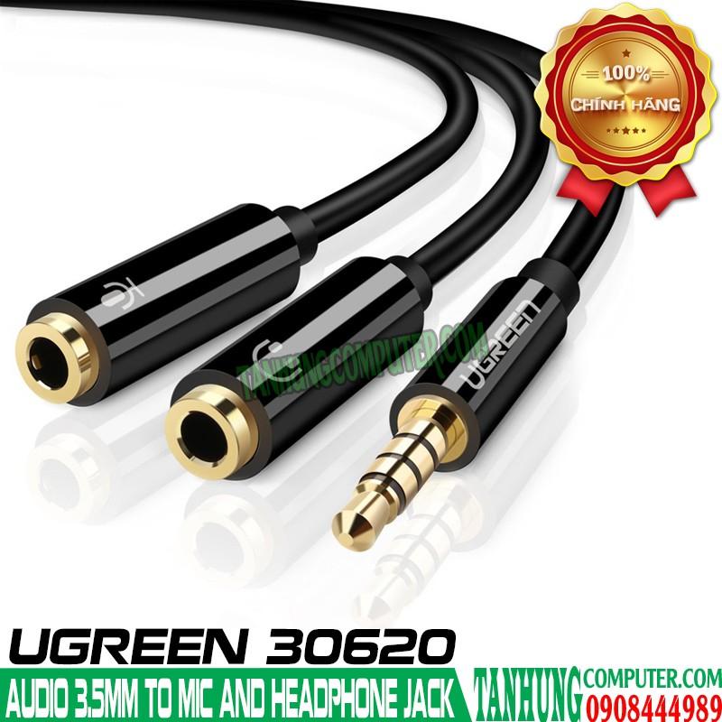 Cable Audio 1 ra 2 Ugreen Cao Cấp Mạ vàng (Audio và Microphone) 10789 30620 AV141