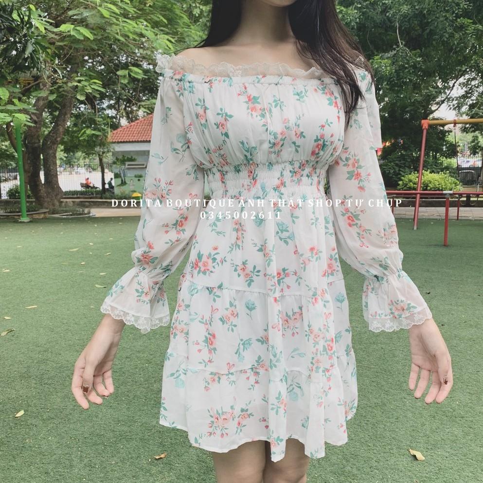 Váy hoa nhí vinatage, Váy hoa nhí trễ vai tay bồng - Dorita Boutique