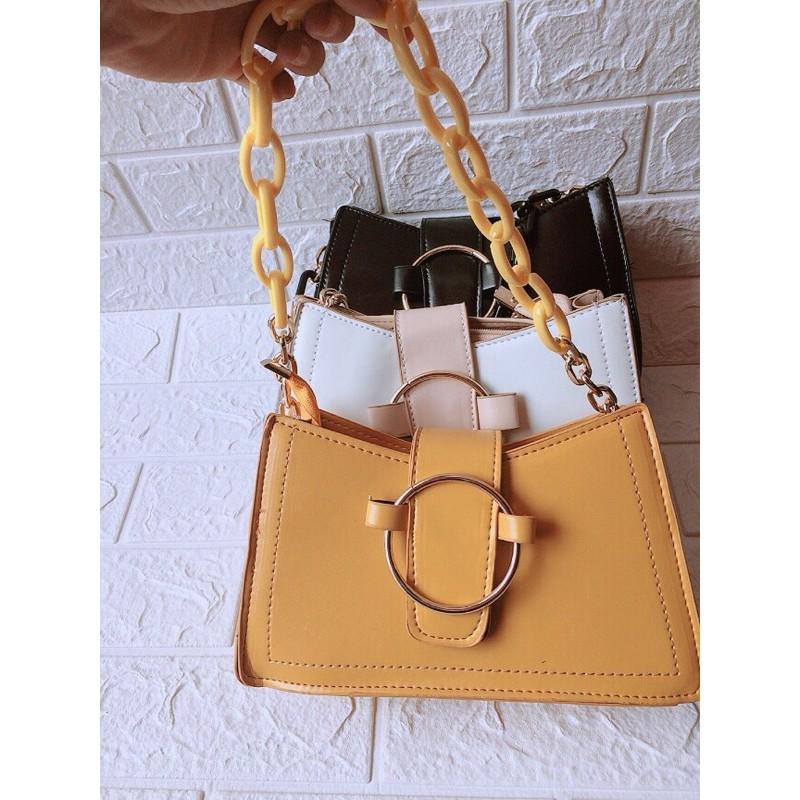 Túi xách nữ đẹp, túi xách nữ thời trang quai xích khóa tròn, thiết kế hiện đại mã T200