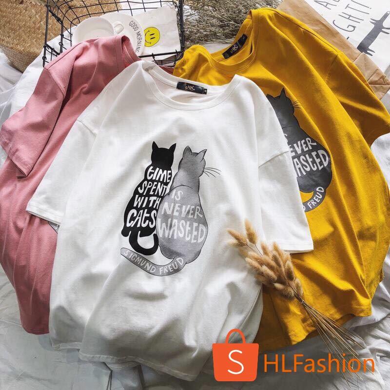 Áo thun tay lỡ unisex mèo đôi Kute - Hàng đẹp chuẩn shop