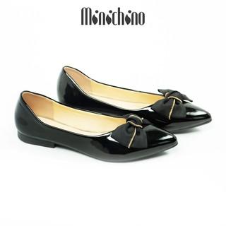 Giày búp bê nữ MINICHINO da bóng đế bằng mũi nhọn nơ xích thời trang màu đen TC026 thumbnail