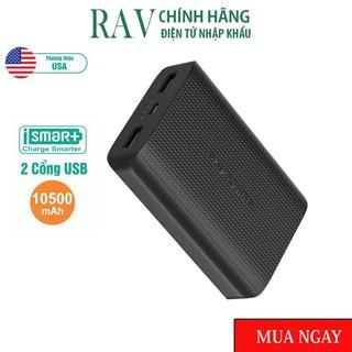 Pin Sạc Dự Phòng RAVPower RP-PB133 10500mAh Sạc Nhanh Công nghệ iSmart Black-Hàng chính hãng thương hiệu Mỹ
