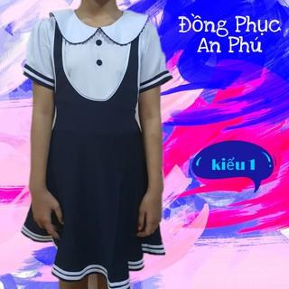 Áo đầm, Váy đầm học sinh nữ cổ sen tay phồng, đồng phục học sinh cấp 1, cấp 2, đồ đi học xinh cho bé gái
