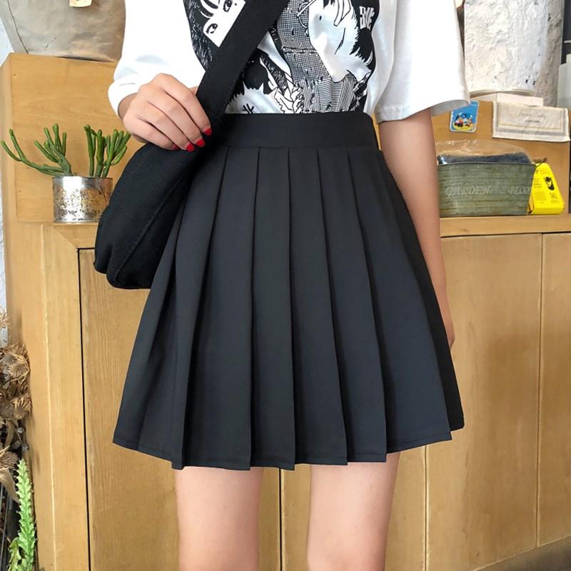 Korean version of solid color high waist slimming versatile pleated skirt