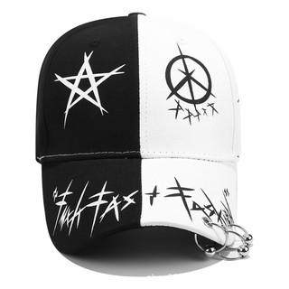 Yêu Thích[RẺ VÔ ĐỊCH] Nón Đuôi dài – Mũ Lưỡi Trai Hàn Quốc dây dài Unisex Star khoen 2 màu trắng đen