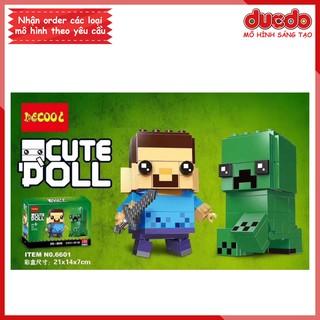 Brick Headz Minecraft nhân vật Steve và Creeper - Đồ chơi Lắp ghép Mini Minifigures DECOOL 6601 BrickHeadz 41612 thumbnail