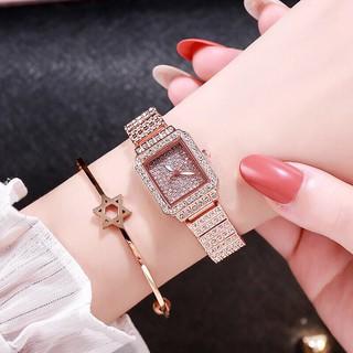 (Giá sỉ) Đồng hồ thời trang nữ DZG mặt chữ nhật đính đá cao cấp